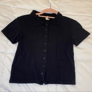 Cropped Black Button Up Polo